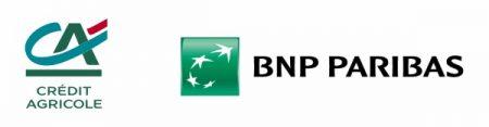 Loga banków Credit Agricole oraz BNP Paribas, obsługującyh płatności ratalne w sklepie Kolarz.pl.